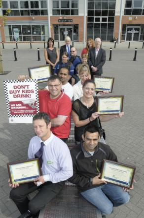 Retailers with their certificates at Leigh Sports Village