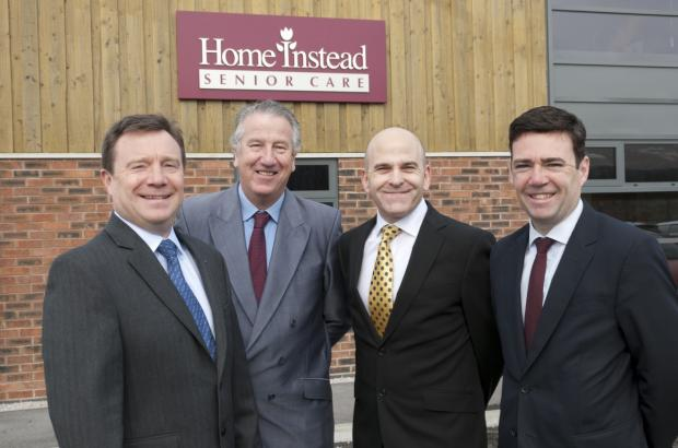 Leigh Journal: CEO of Home Instead Trevor Brocklebank, David Mowat MP with chief operating officer Martin Jones and Andy Burnham MP