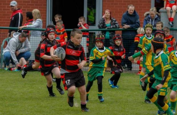 Leigh East under 7s' Brody Allred in action at the fun day. Photo by Calvin Hughes.