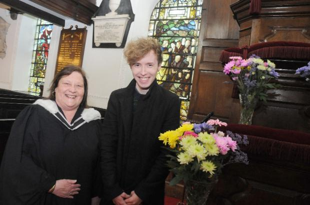 Leigh Journal: Luke Hupton with the Rev Brenda Catterall at Chowbent Chapel