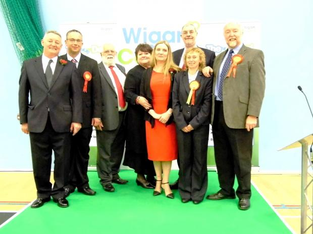Leigh Journal: Labour victors celebrate at Leigh Sports Village