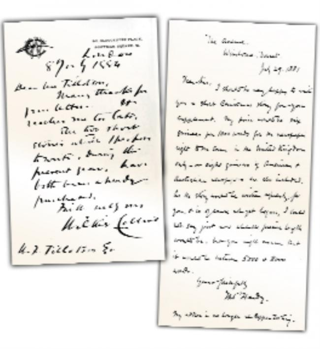 Letters sent to WF Tillotson from Wilkie Collins and to WF Tillotson from Thomas Hardy