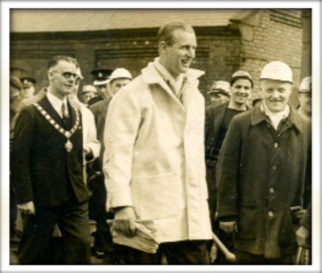 The Duke of Edinburgh visits Mosley Common Colliery
