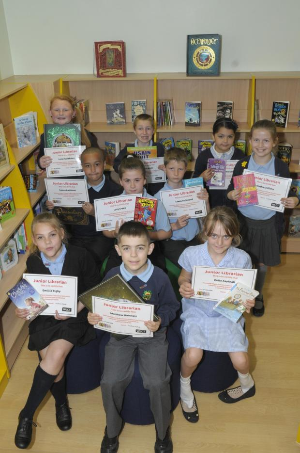 Leigh Journal: The junior librarians with their certificates
