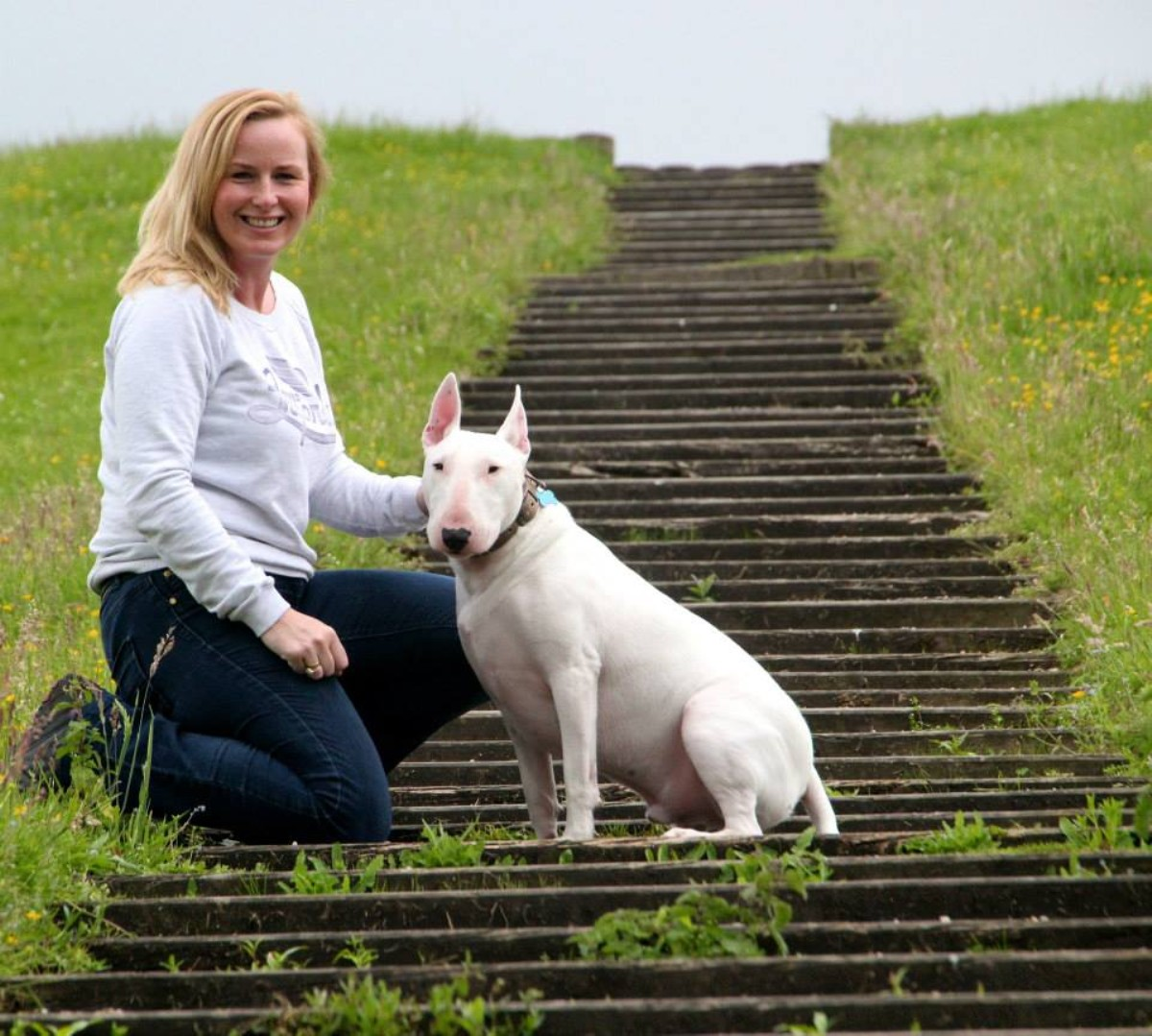 Zoe Donoghue with English Bull Terrier Lincoln. Photo by Sam BB