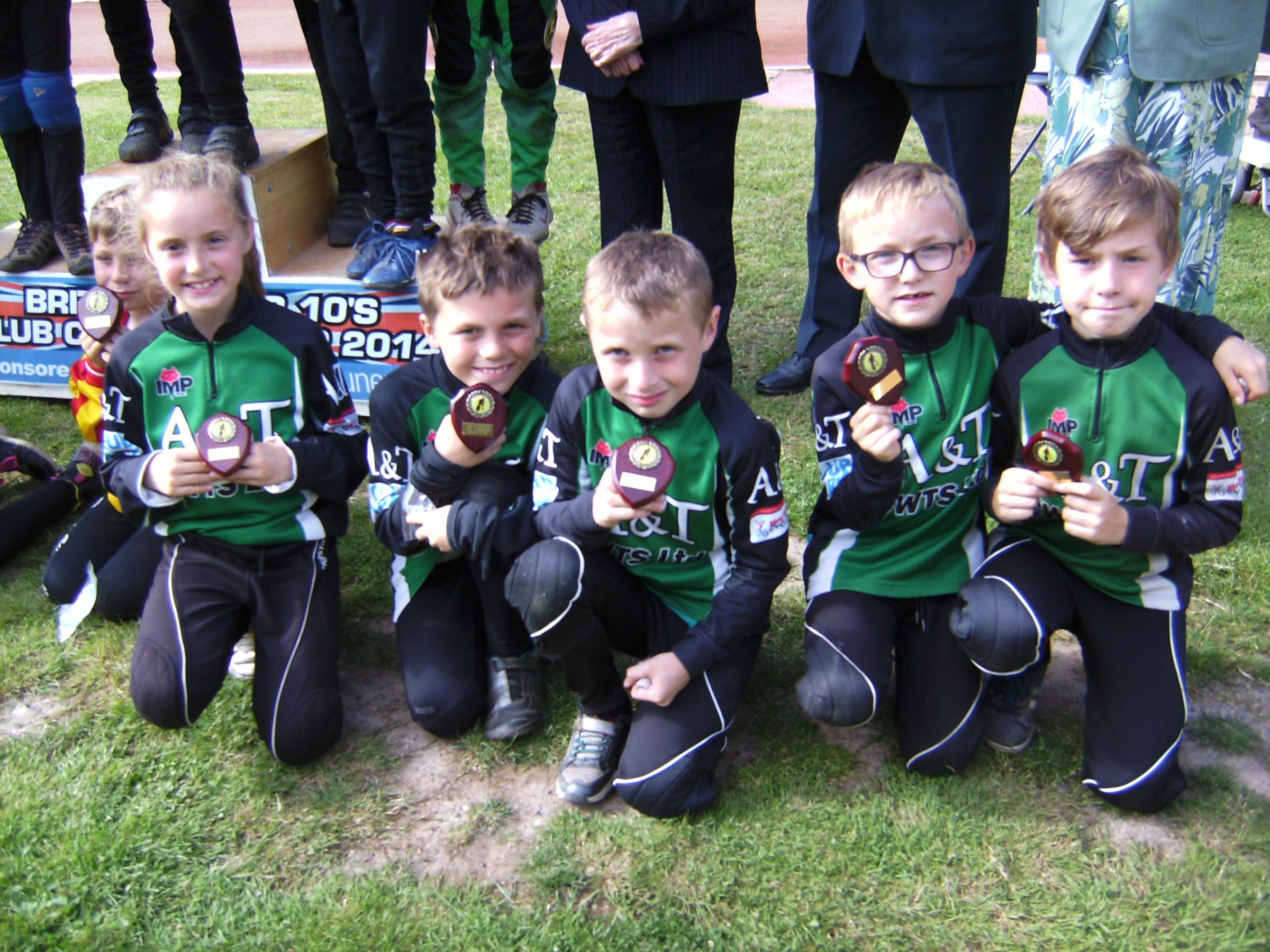 The under 10s with their British Club Championship runner-up awards. Photo Mike Hack.
