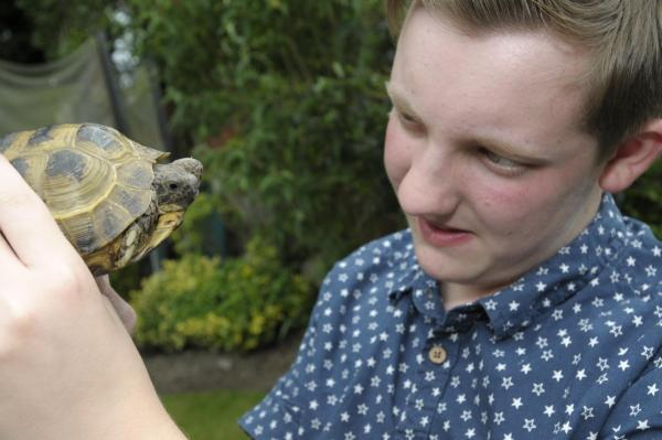 Leigh Journal: Arran with Turbo the tortoise