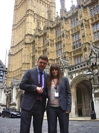 Andy Burnham with Rebecca Halliwell