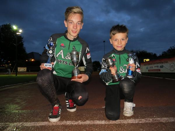 & Tyldesley's pair of Manchester League Individual Champions - Reece Pollitt (left) and Joe Quarmby (right). Photo courtesy of Sue Tydd.