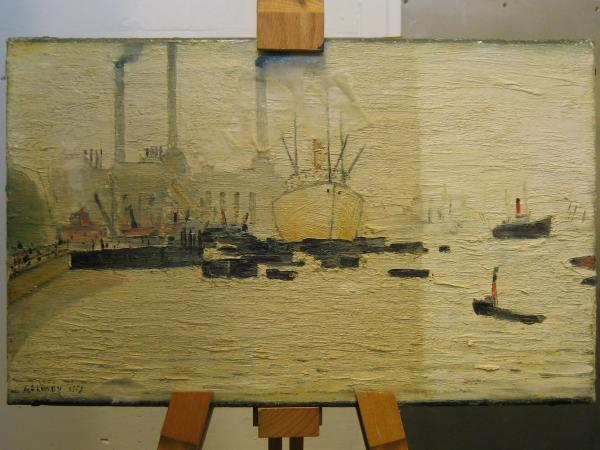 LS Lowry's oil painting mid-way through the cleaning process
