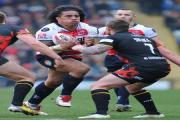 Fuifui Moimoi on the charge on his Championship debut against Bradford Bulls