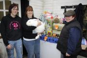 Rupert the rabbit and his friends at Bunny Hop Rescue have received goods from Spirit of Trust Charity. Pictured is Claire Simm and Anne Compton from Spirit of Trust, and Kay Waugh from Bunnyhop Rescue