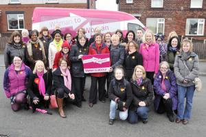 Labour's pink bus rolls into town