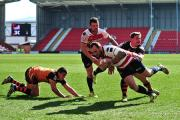 Gareth Hock touches down for a try on his debut for Leigh Centurions