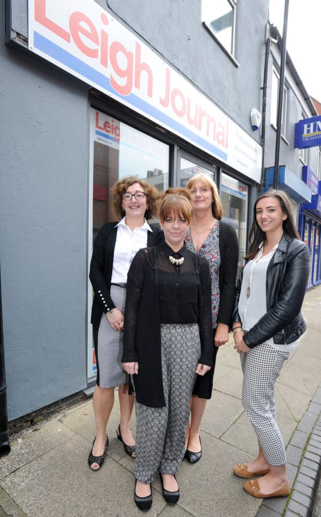 The new Leigh Journal office with reporter Kate McMullin (far right) and staff, Marie Bibby( far right) Anita Stokes and Lauren Murphy (front)