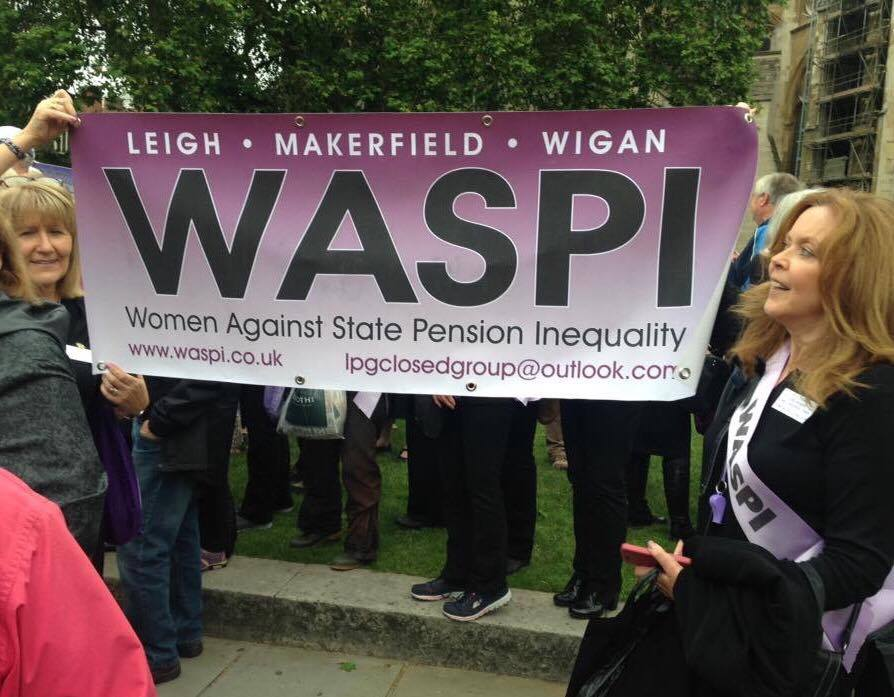 Gillian Harris and Carole White from the Leigh, Makerfield and Wigan WASPI group protesting outside the Houses of Parliament