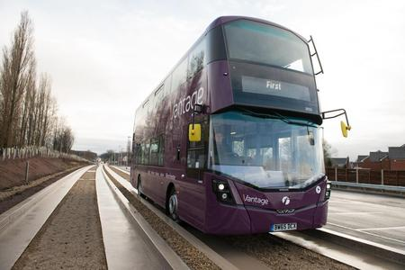 A Vantage vehicle on the guided busway