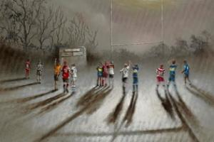 Bob Barker's Where There's A Will There's A Way painting featuring his nephew William and current and former Super League stars, including Leigh's Liam Hood