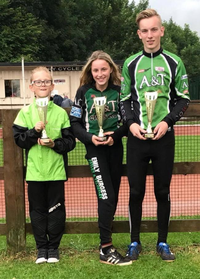 Duncan Whalley, Emily Burgess and Reece Pollitt with their Manchester League Grand Prix winners trophies. Photo courtesy of Corrie Burgess.