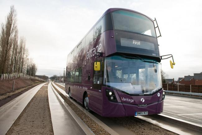 One of the Vantage vehicles on the guided busway