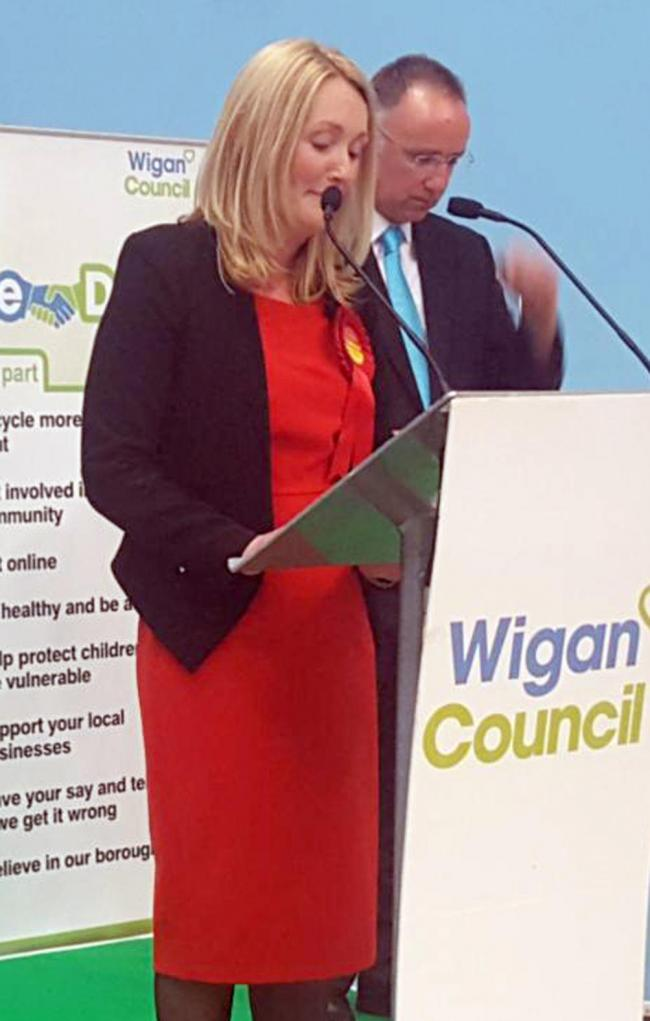 Jo Platt delivers a victory speech after being elected the first female MP of Leigh