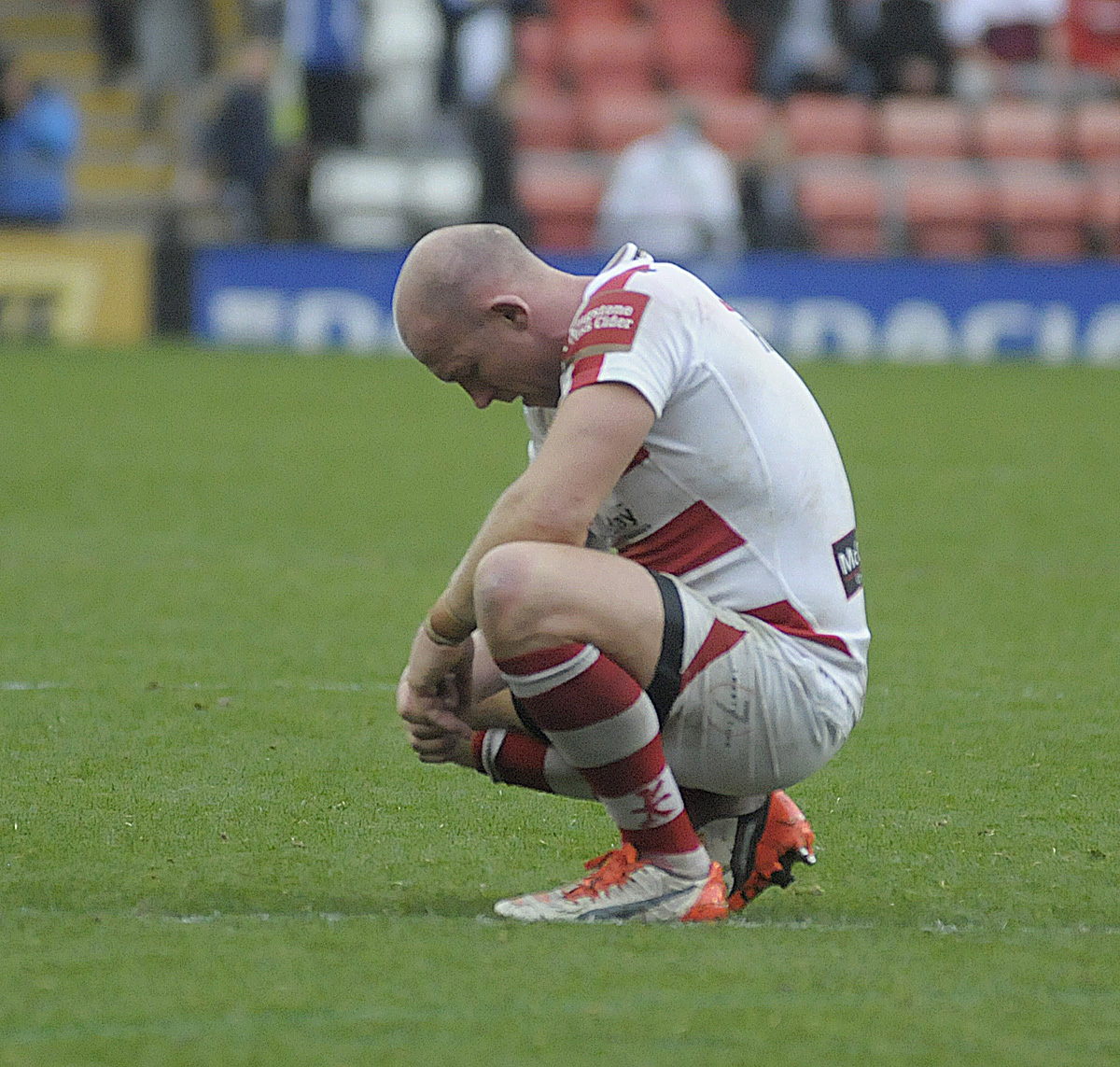 Skipper Micky Higham was distraught at the final whistle on Saturday