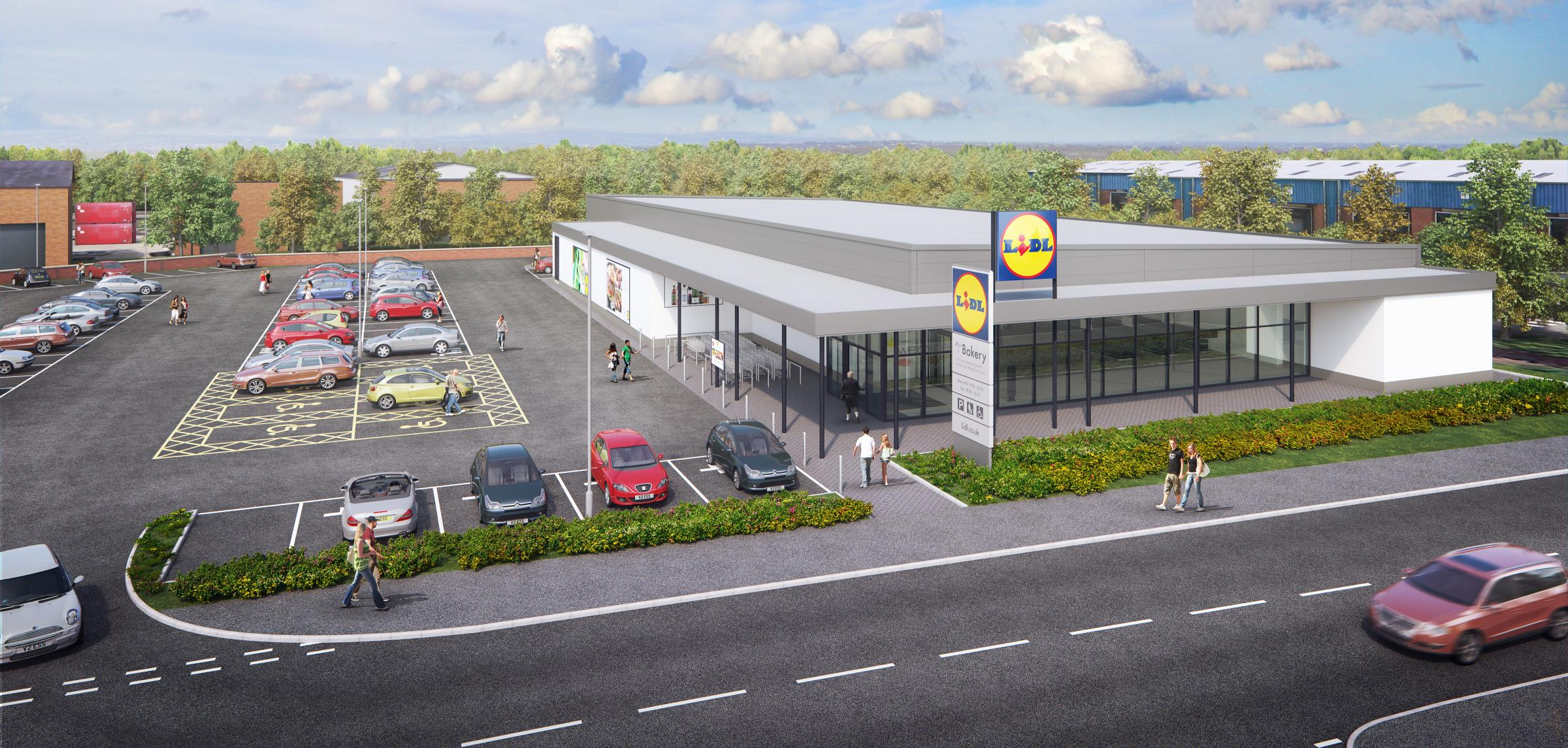 A CGI image for the new Lidl store on High Street in Golborne