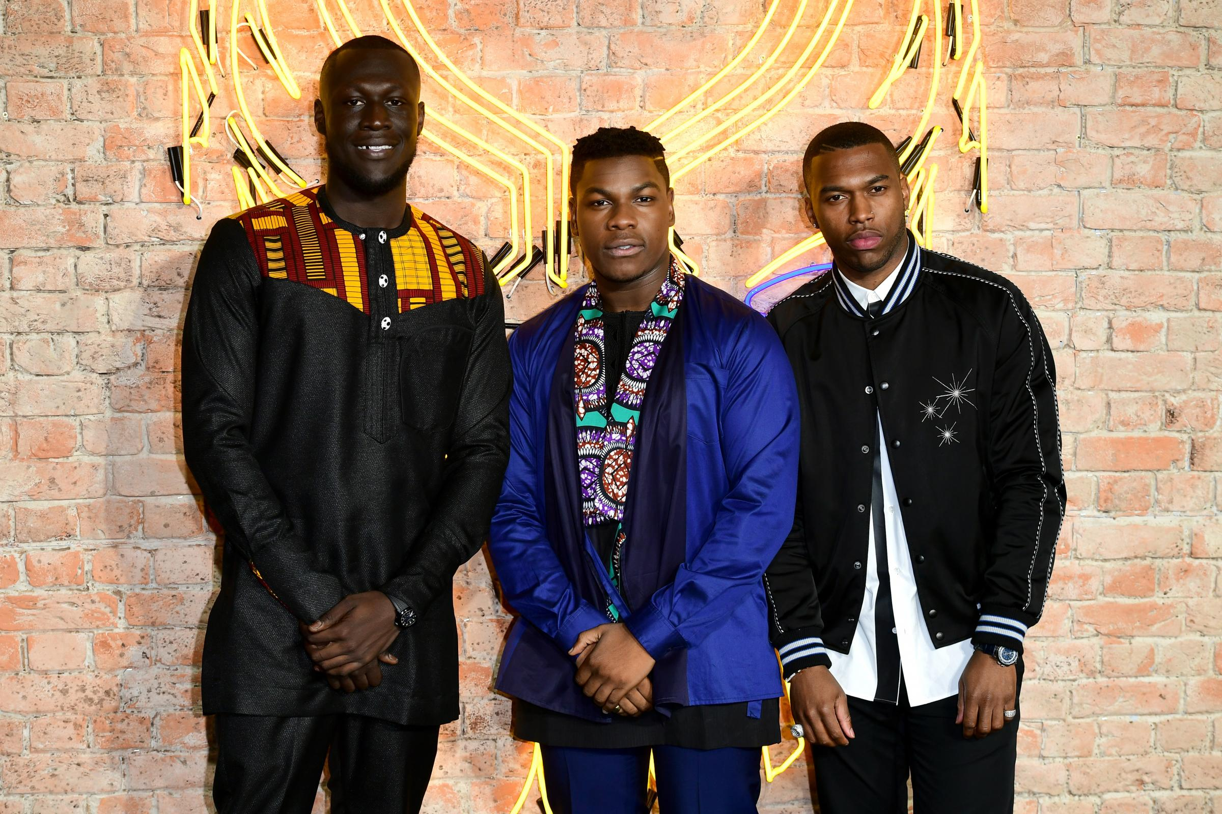 Stormzy, left, John Boyega and Daniel Sturridge (Ian West/PA)