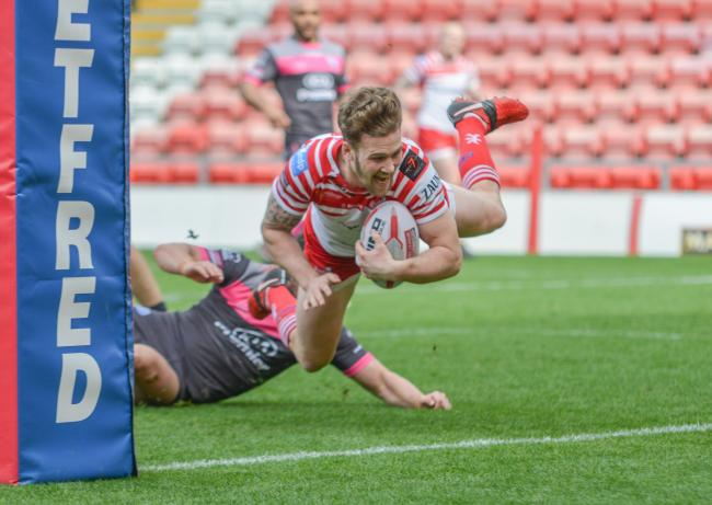 Ben Reynolds touches down for Leigh against Rochdale on Sunday. Picture: PaulMcCarthyPhotography