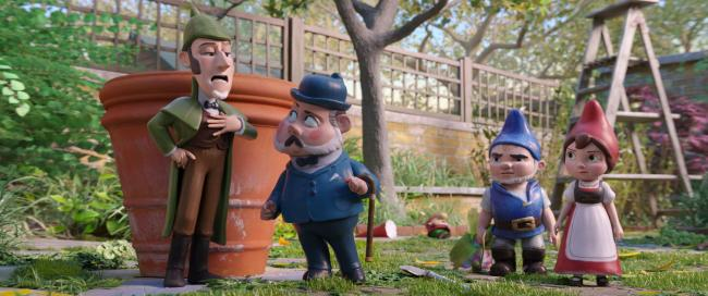 Sherlock Gnomes (voiced by Johnny Depp), trusty sidekick Watson (Chiwetel Ejiofor), Gnomeo (James McAvoy) and Juliet (Emily Blunt)