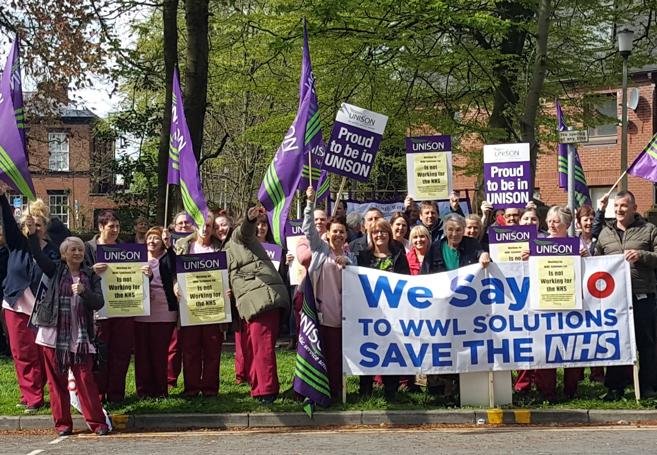 A protest organised by Unison members outside the Royal Albert Edward Infirmary in Wigan