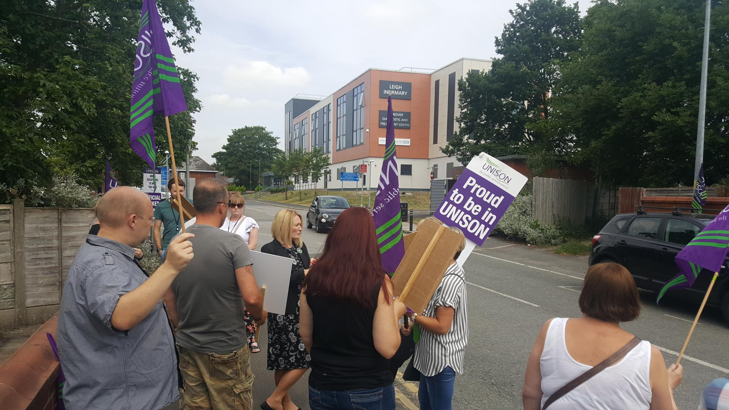 Staff on the picket line at Leigh Infirmary last Friday