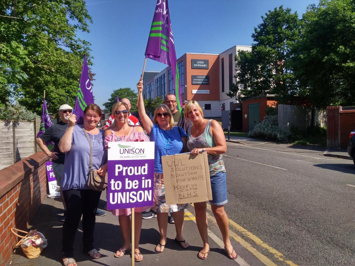 Unison staff outside Leigh Infirmary at one of the recent strikes