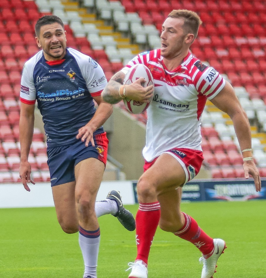Mitch Cox on his Leigh Centurions debut against Sheffield Eagles. Picture by Onion Bag Photography