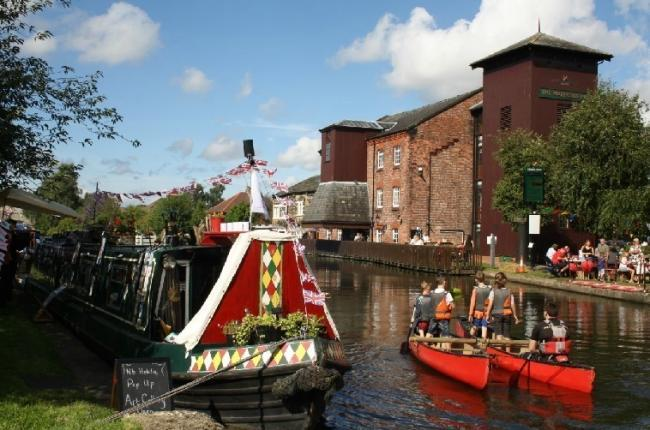 Canal boats at a previous festival