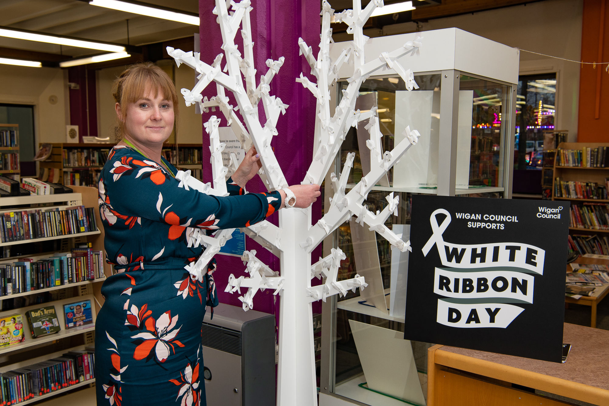 Astley and Mosley Common councillor Paula Wakefield with the White Ribbon tree at Leigh Library
