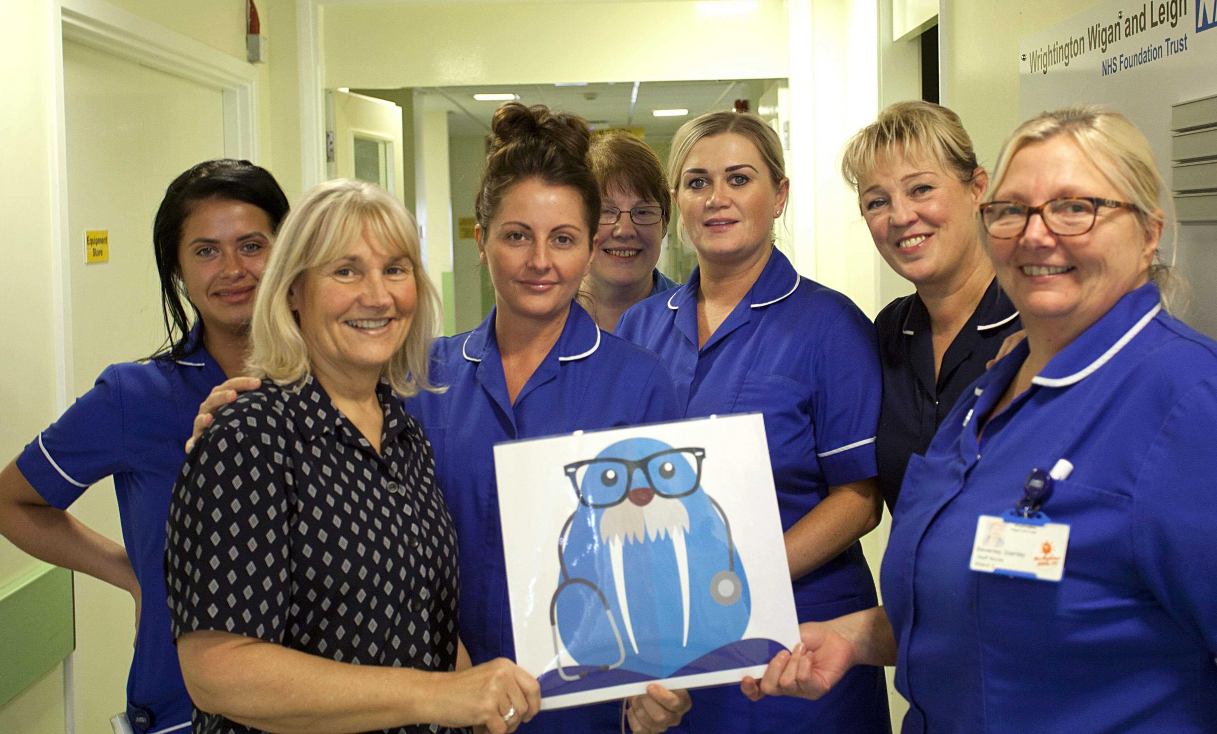 Leigh Infirmary Ward 3 staff with their Wally mascot design