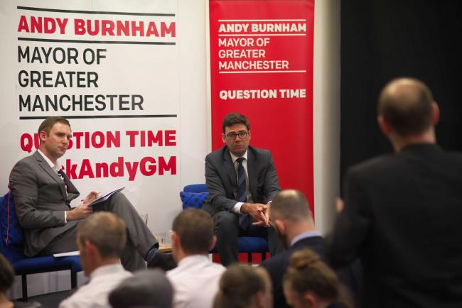 BBC host Matthew Bone with Greater Manchester mayor Andy Burnham at The Turnpike event on Tuesday