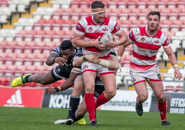 Leigh in action against Toronto. Pic: Richard Walker