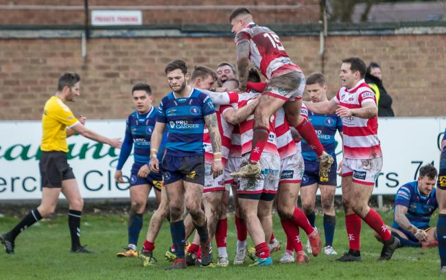 Leigh celebrate at Swinton. Pic: Richard Walker