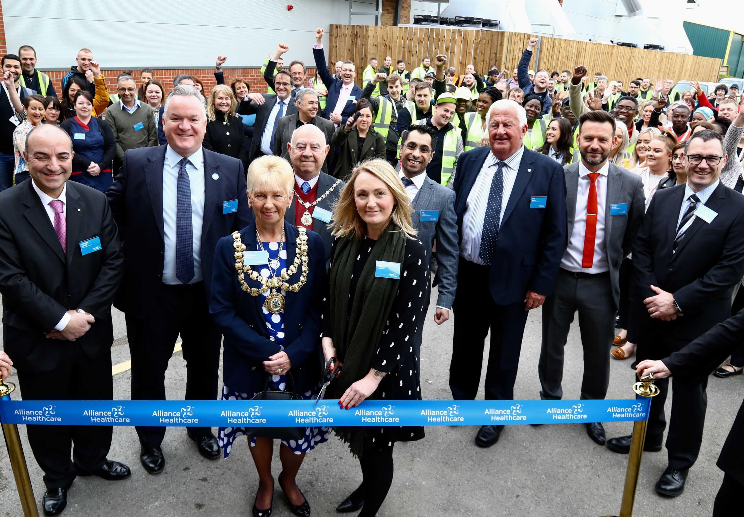 Leigh MP Jo Platt cuts the ribbon at the ceremony for the official unveiling of Leigh Service Centre on Friday