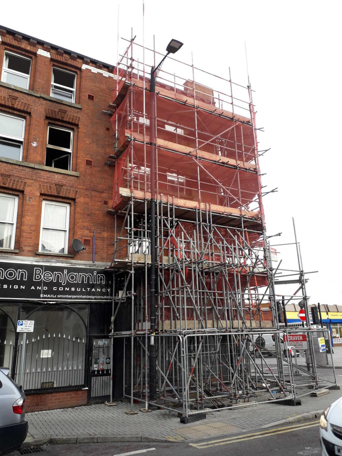 Scaffolding on the Marklands building in Tyldesley