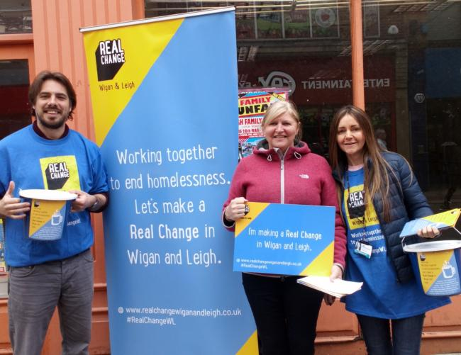 Real Change campaign manager Robbie Cowbury, Leigh town centre manager Lin Hogan and care and support specialist Gail Moorhouse