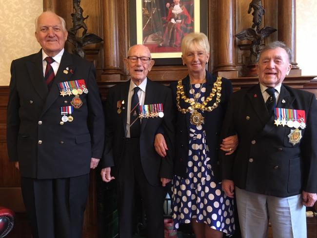 From left; Eric Radcliffe, from Leigh, Ted Houghton, from Winstanley, mayor of Wigan borough, Cllr Sue Greensmith, and Harry Cullen, from Wigan