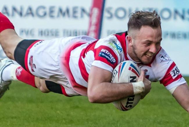 Ryan Brierley, a Leigh Centurions try scorer in France. Picture: Richard Walker