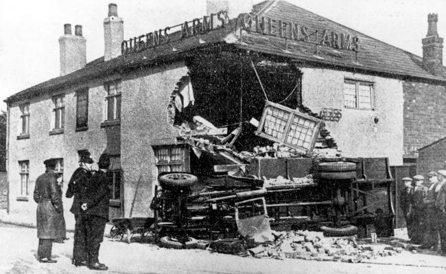 The wreckage scene after the lorry crashed into the Queen's Arms pub in Tyldesley Picture: Wigan and Leigh Archives and Local Studies, Wigan Council