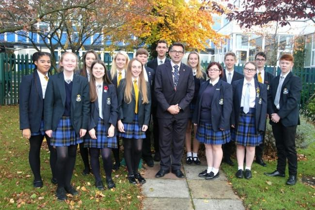 St Mary's Catholic High School head teacher Andrew Dawson with pupils