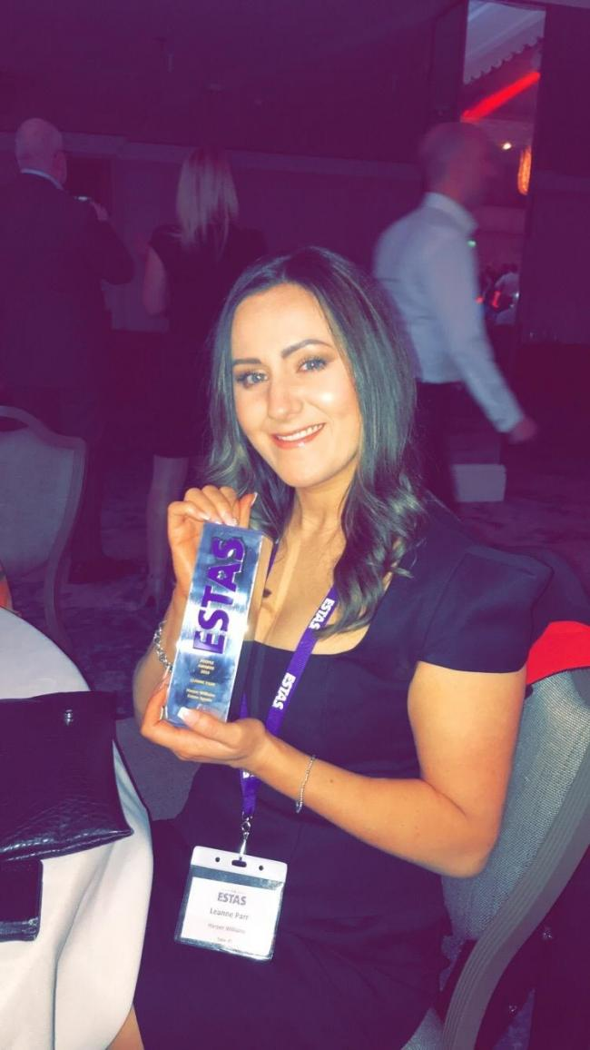 Leanne Parr, from Leigh, at the ESTAS award ceremony